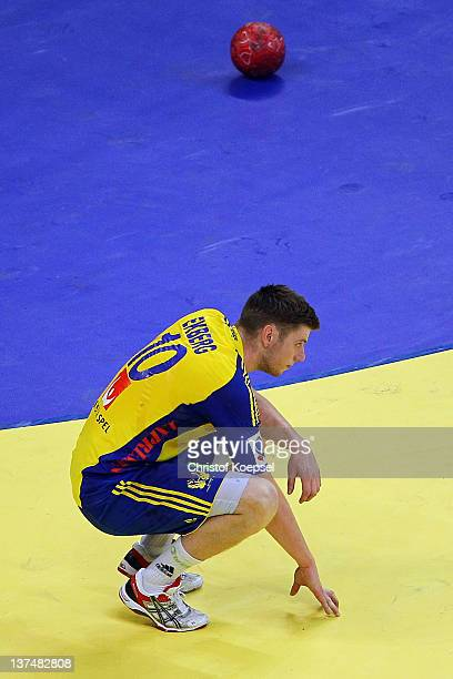 Niclas Ekberg of Sweden looks dejected after the Men's European Handball Championship second round group one match between Poland and Sweden at...
