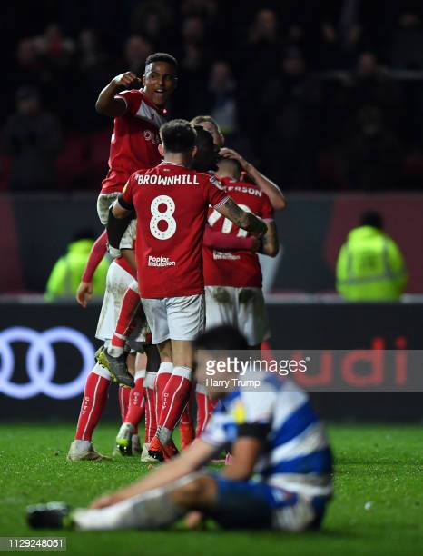 Niclas Eliasson of Bristol City celebrates on the final whistle with team mates after winning during the Sky Bet Championship match between Bristol...