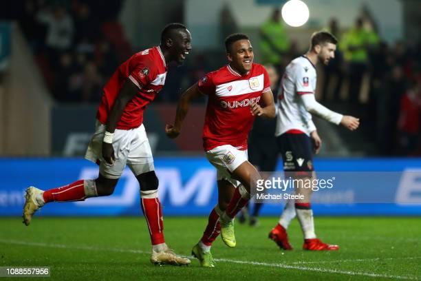 Niclas Eliasson of Bristol City celebrates scoring the 2nd Bristol City goal with Famara Diedhiou of Bristol City during the FA Cup Fourth Round...