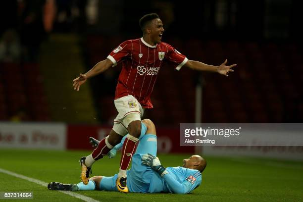 Niclas Eliasson of Bristol City celebrates scoring the third goal during the Carabao Cup Second Round match between Watford and Bristol City at...
