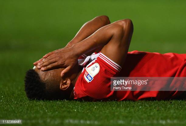 Niclas Eliasson of Bristol City reacts to a missed chance during the Sky Bet Championship match between Bristol City and Birmingham City at Ashton...