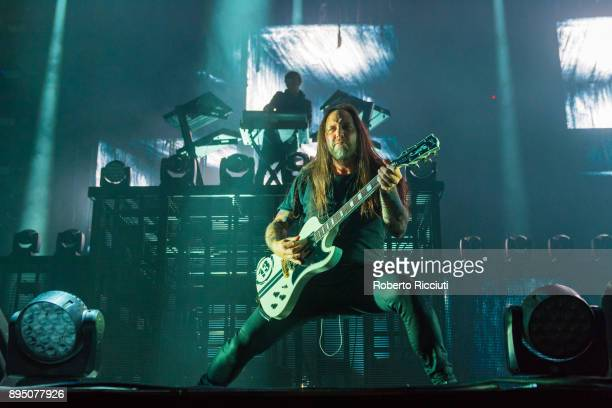 Niclas Engelin of In Flames performs live on stage at The SSE Hydro on December 18 2017 in Glasgow Scotland