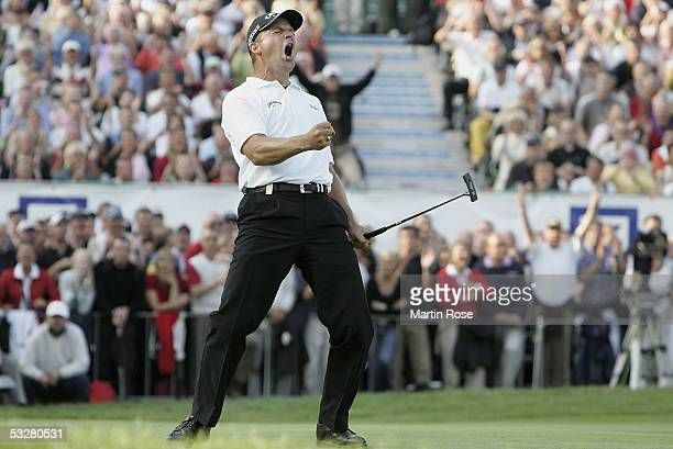 Niclas Fasth of Sweden celebrates winning The Deutsche Bank Players Championships at Gut Kaden Golf Club on July 24, 2005 in Alveslohe near Hamburg,...