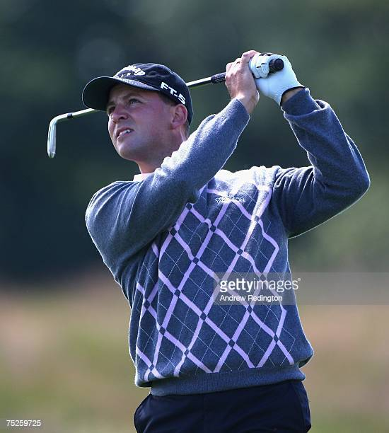 Niclas Fasth of Sweden hits his second shot on the fourth hole during the third round of the Smurfit Kappa European Open on July 7 2007 on the...