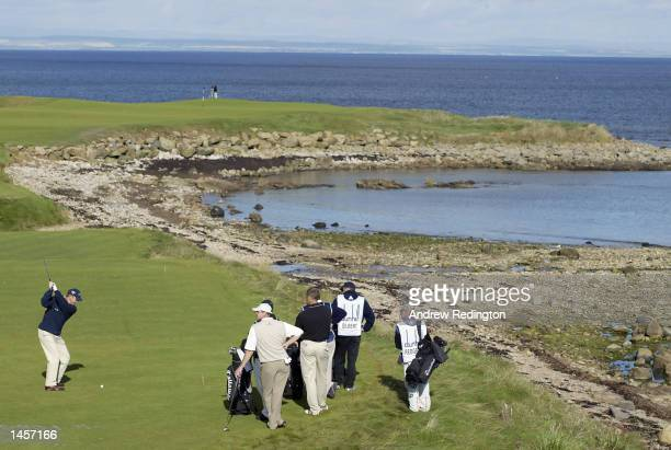 Niclas Fasth of Sweden hits his tee-shot on the 15th hole during the first round of the Dunhill Links Championship at Kingsbarns Golf Links, Scotland...
