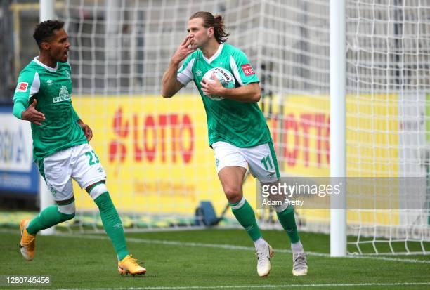 Niclas Füllkrug of SV Werder Bremen celebrates after scoring his sides first goal during the Bundesliga match between Sport-Club Freiburg and SV...
