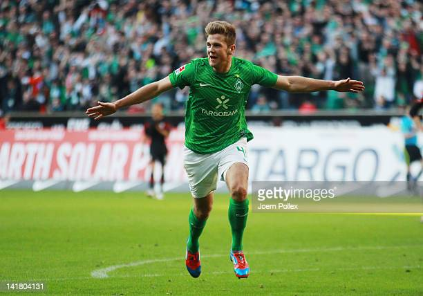 Niclas Fuellkrug of Bremen celebrates after scoring his team's first goal during the Bundesliga match between SV Werder Bremen and FC Augsburg at...