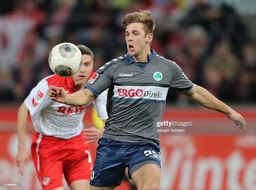 Niclas Fuellkrug of Fuehrt eyes the ball during the 2nd Bundesliga match between 1. FC Koeln and Greuther Fuerth at RheinEnergieStadion on February 24, 2014 in Cologne, Germany.