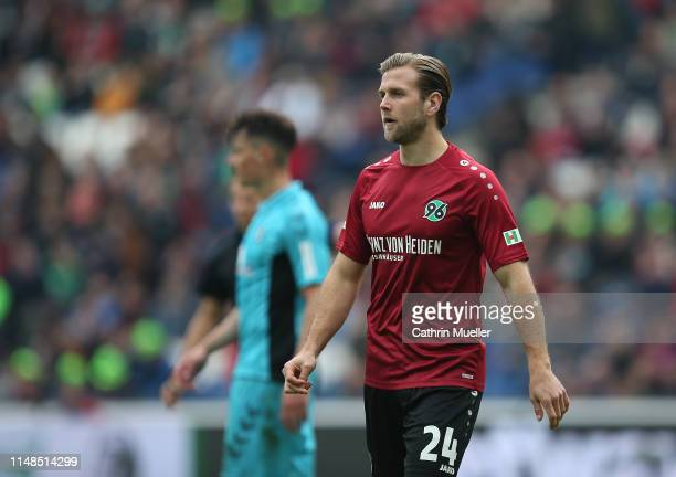 Niclas Fuellkrug of Hannover 96 looks on during the Bundesliga match between Hannover 96 and Sport-Club Freiburg at HDI-Arena on May 11, 2019 in...
