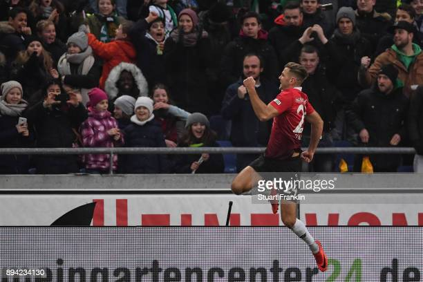 Niclas Fullkrug of Hannover 96 celebrates after scoring a goal from the penalty to make it 21 during the Bundesliga match between Hannover 96 and...
