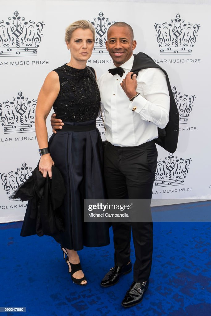 Niclas Kjellstrom-Matseke (R) and guest attend an award ceremony for the Polar Music Prize at Konserthuset on June 15, 2017 in Stockholm, Sweden.