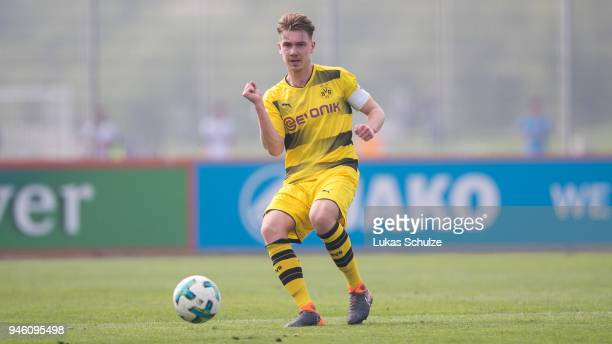 Niclas Knoop of Dortmund in action during the B Juniors Bundesliga West match between Bayer Leverkusen and Borussia Dortmund on April 14 2018 in...
