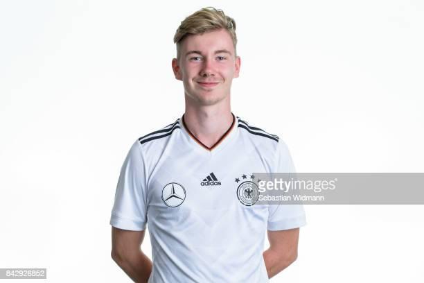 Niclas Knoop poses during the Germany U17 team presentation on September 5 2017 in Haarbach Germany