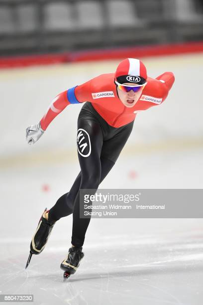 Niclas Mastrup of Denmark performs during the Men 1500 Meter at the ISU ISU Junior World Cup Speed Skating at Max Aicher Arena on November 26 2017 in...
