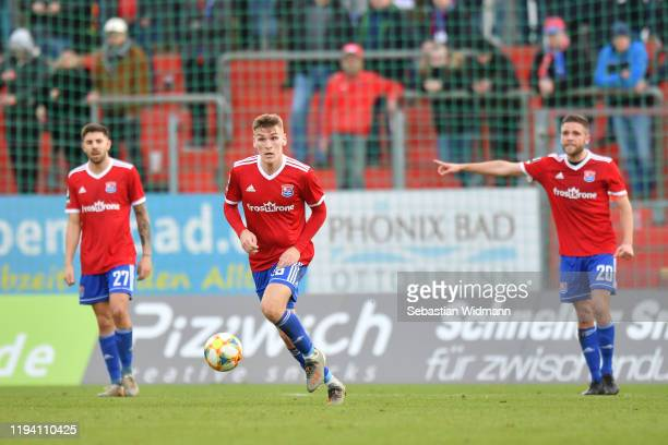 Niclas Stierlin of Unterhaching plays the ball during the 3. Liga match between SpVgg Unterhaching and MSV Duisburg at Alpenbauer Sportpark on...