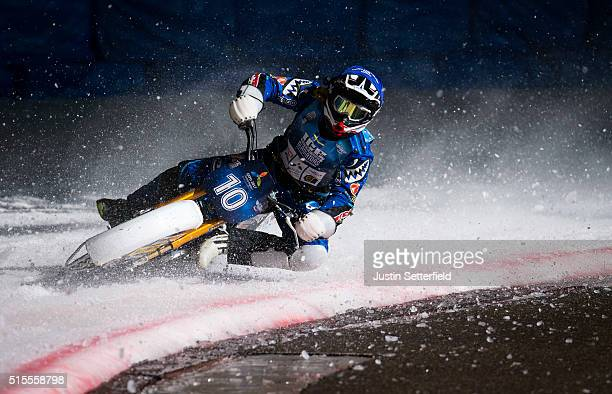 Niclas Svensonn in action during Ice Speedway World Championship Final on March 13 2016 in Assen Netherlands
