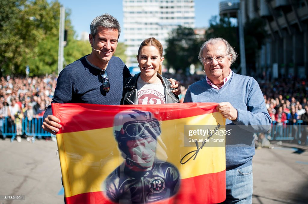 Nico Abad, Ainhoa Arbizu and Valentin Requena during the Funeral Tribute For Angel Nieto in Madrid on September 16, 2017 in Madrid, Spain.