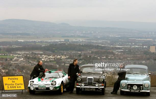 Nico Alonzi with his Lancia Stratos Tom Fitzsimmons with his 1963 Volvo and Malcolm Oswald with his Riley during a photocall to launch the 2014 Monte...