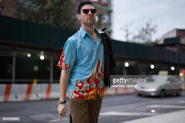 Nico Amarca is seen attending VFILES during New York Fashion Week wearing a JNCO shirt on September 6 2017 in New York City