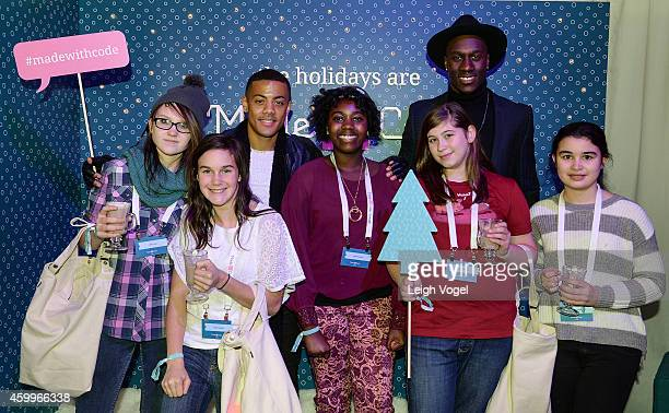 Nico and Vinz pose for a photo in the VIP tent during the National Park Foundation and Google's Made with Code National Christmas Tree Lightening...