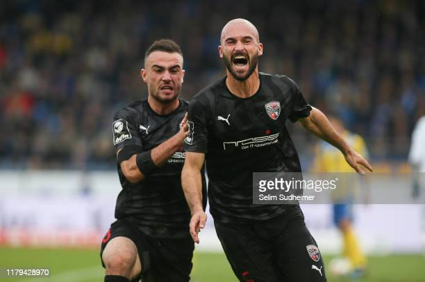 Nico Antonitsch of Ingolstadt celebrate their teams second goal scoring during the 3. Liga match between Eintracht Braunschweig and FC Ingolstadt at...