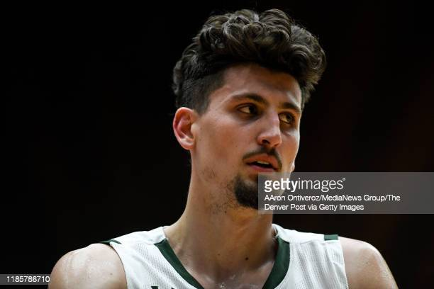 Nico Carvacho of the Colorado State Rams stands on the court against the Denver Pioneers during the second half of CSU's 74-63 win on Tuesday,...