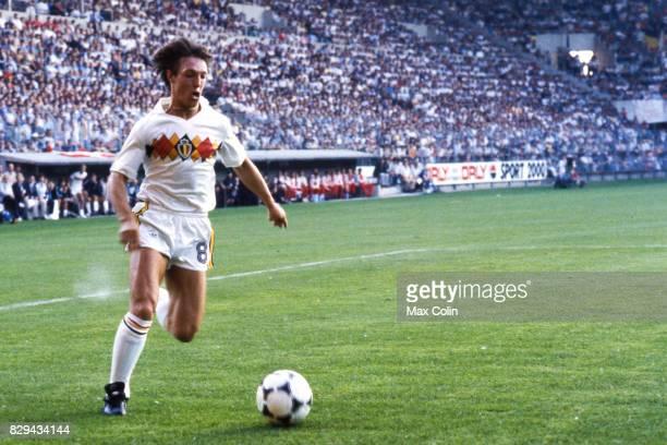 Nico Claesen of Belgium during the European Championship match between Denmark and Belgium at La Meinau Strasbourg France on 19th June 1984