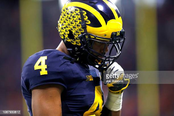 Nico Collins of the Michigan Wolverines reacts late in the game during his teams 4115 loss to the Florida Gators during the ChickfilA Peach Bowl at...