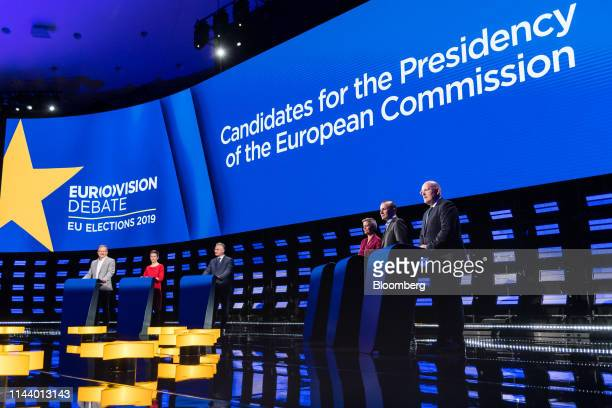 Nico Cue lead candidate Party of the European Left from left Ska Keller colead candidate of the European Green Party Jan Zahradil lead candidate of...