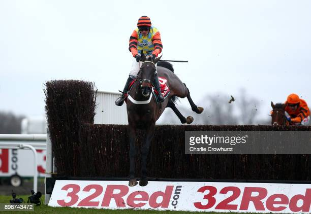 Nico de Boinville clears the last on Might Bite to win The 32Red King George VI Steeple Chase at Kempton Park racecourse on December 26 2017 in...