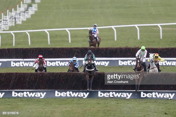 Nico de Boinville riding Altior clear the last to win The Betway Queen Mother Champion Steeple Chase at Cheltenham racecourse on Ladies Day on March...