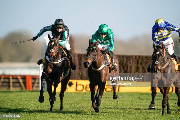 Nico de Boinville riding Altior clear the last to win The Win Bigger On The Betfair Exchange Chase from Sceau Royal and Tom Bellamy at Newbury...