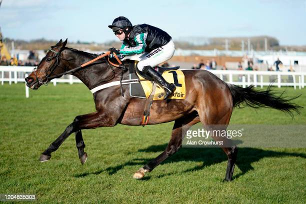 Nico de Boinville riding Altior clear the last to win The Win Bigger On The Betfair Exchange Chase at Newbury Racecourse on February 08 2020 in...