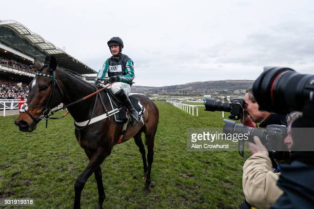 Nico de Boinville riding Altior win The Betway Queen Mother Champion Steeple Chase at Cheltenham racecourse on Ladies Day on March 14 2018 in...