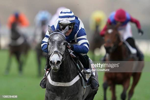 Nico de Boinville riding Angels Breath win The Sky Bet Supreme Trial Novices' Hurdle at Ascot Racecourse on December 21 2018 in Ascot England