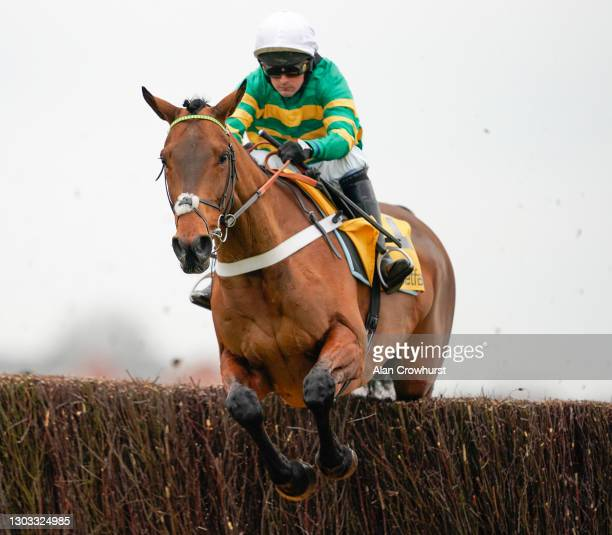 Nico de Boinville riding Champ during The Betfair Game Spirit Chase at Newbury Racecourse on February 21, 2021 in Newbury, England. Due to the...