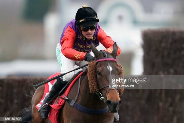 Nico de Boinville riding Forth Bridge clear the last to win The Matchbook Silver Bowl Handicap Chaseat Kempton Park on March 16 2019 in Sunbury...