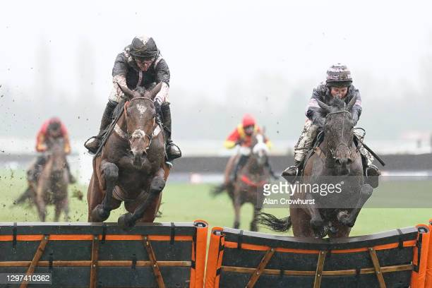 Nico de Boinville riding Gallyhill clear the last to win The MansionBet Is Proud To Sponsor British Racing Novices' Hurdle from Jamie Moore and...