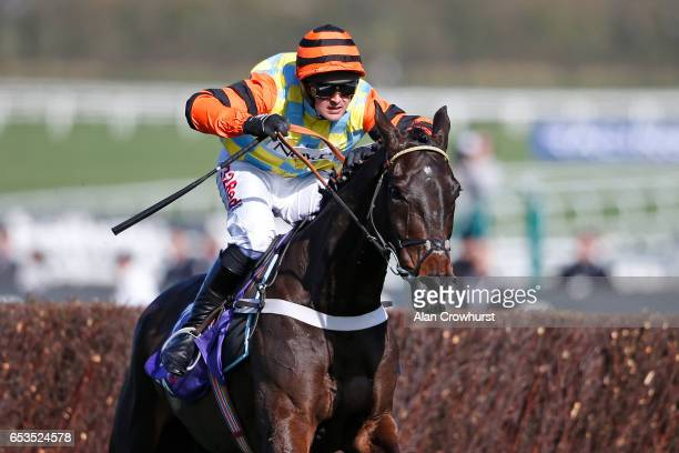 Nico de Boinville riding Might Bite clear the last to win The RSA Novicesâ Steeple Chase at Cheltenham racecourse on day two of the festival meeting...