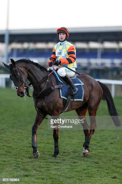 Nico de Boinville riding Might Bite gallop after racing at Kempton Park racecourse on February 24 2018 in Sunbury England