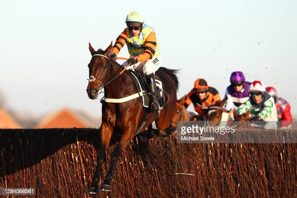 Nico de Boinville riding Morning Vicar on his way to winning the Indzine Handicap Chase at Newbury Racecourse on November 05, 2020 in Newbury,...