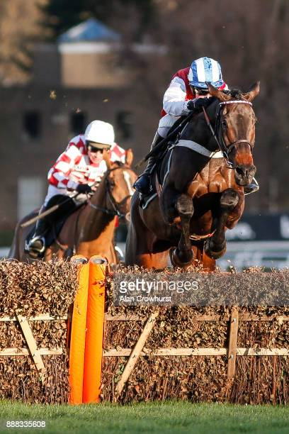 Nico de Boinville riding On The Blind Side clear the last to win The Ballymore Novicesâ Hurdle Race at Sandown Park racecourse on December 8 2017 in...