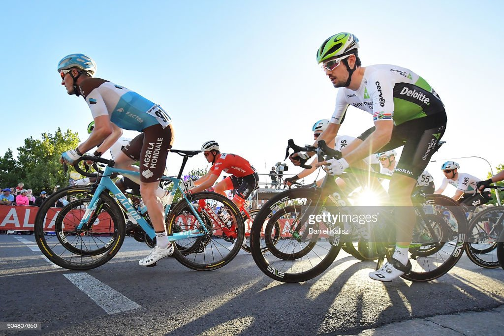 Nico Denz of Germany and AG2R La Mondiale and Jaco Venter of South Africa and Team Dimension Data compete during the People's Choice Classic which is part of the 2018 Tour Down Under on January 14, 2018 in Adelaide, Australia.