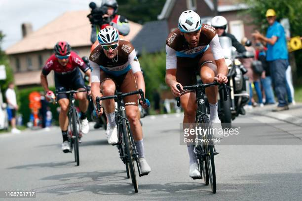 Nico Denz of Germany and Team AG2R La Mondiale / Stijn Vandenbergh of Belgium and Team AG2R La Mondiale / Michal Golas of Poland and Team INEOS /...