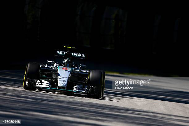 Nico DRosberg of Germany and Mercedes GP drives during final practice for the Canadian Formula One Grand Prix at Circuit Gilles Villeneuve on June 6,...