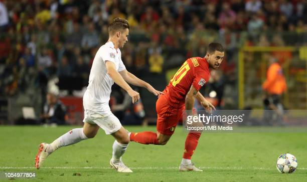 Nico Elvedi and Eden Hazard fight for the ball during the UEFA Nations League A group two match between Belgium and Switzerland at King Baudouin...