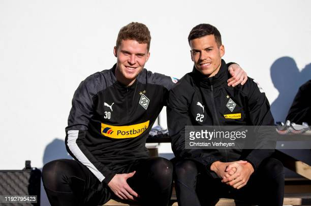 Nico Elvedi and Laszlo Benes are seen during the Borussia Moenchengladbach Training Camp on January 08 2020 in Jerez de la Frontera Germany