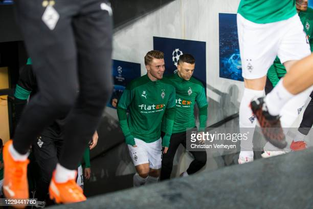 Nico Elvedi and Laszlo Benes of Borussia Moenchengladbach are seen before the Group B - UEFA Champions League match between Shakhtar Donetsk and...