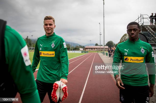 Nico Elvedi and Mamadou Doucoure during a Training Session at Borussia Moenchengladbach Training Camp at Stadion am Birkenmoos on July 23, 2018 in...