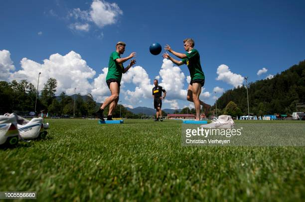 Nico Elvedi and Matthias Ginter during a Training Session at Borussia Moenchengladbach Training Camp at Stadion am Birkenmoos on July 26 2018 in...